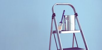 Paint bucket on a ladder