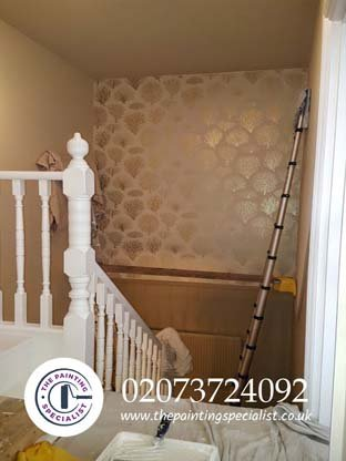 Staircase and banisters painted in East Finchley